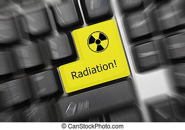 概念性, 鍵盤, -, 輻射, (yellow, 鑰匙, 直飛上升, effect)