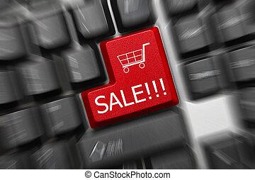 概念性, 鍵盤, -, 銷售, (zoom, effect)