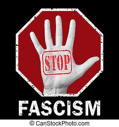 概念性, 问题, illustration., 法西斯主义, 社会, 新闻, 停止