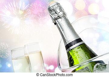 概念性, celebraction, 由于, 香檳酒。