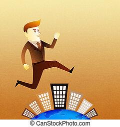 概念的圖像, -, 商人, 跑, 上, 建築物, 在, 突進, 小時