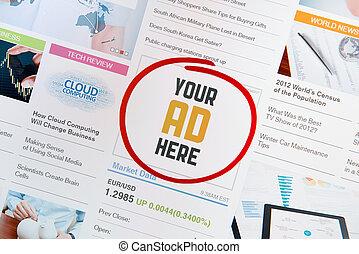 概念, あなたの, ここに, 広告