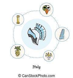 概念, いたずら書き, シンボル, 有名, ベクトル, イタリア語