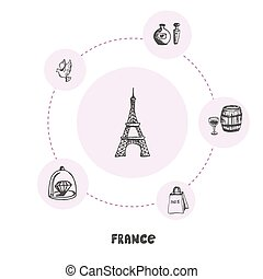 概念, いたずら書き, フランス, シンボル, 有名, ベクトル