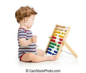 概念, おもちゃ, 早く, 勉強, 子供, そろばん, 遊び