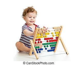 概念, おもちゃ, 早く, 勉強, 子供, 赤ん坊, そろばん, 遊び