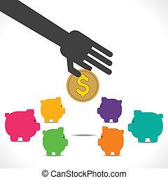 概念, お金, ベクトル, セービング