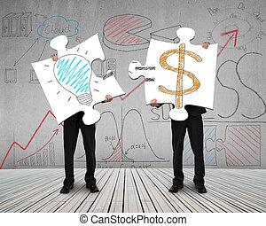 概念, お金, 男性, 2, 考え, パズル, 接続