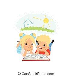 概念, かわいい, わずかしか, 子供, 妖精, 男の子, 本, イラスト, ファンタジー, 尾, ベクトル, 想像力, 背景, 白, 読書, 女の子
