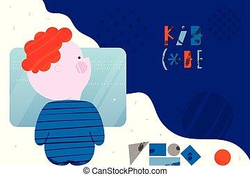 概念, かわいい, 訓練, コード, 男の子, コーディング, laptop., 平ら, スタイル, デザイン, 子供