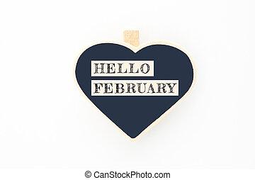 概念, こんにちは, 2 月, メッセージ, 上に, 木製板
