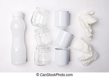 概念, ごみ, 金属, 手ざわり, 再生利用できる, バックグラウンド。, ペーパー, ガラス, 白, プラスチック, consisting
