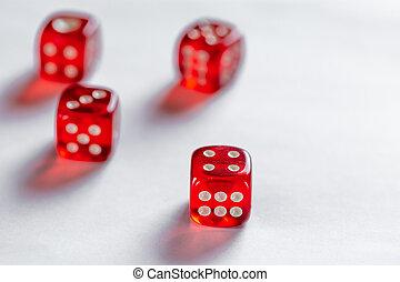 概念, さいころ, ビジネス, 危険, よい, 背景, チャンス, ギャンブル, 白, ∥あるいは∥, 赤, 運