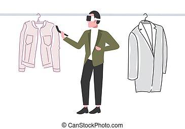 概念, によって, 選択, 技術, ヘッドホン, バーチャルリアリティ, 保有物, オンラインで, 3d, 身に着けていること, 平ら, フルである, 買い物, デジタル, コントローラー, 横, 人, 経験, 衣服, 長さ, 人, augmented, ガラス
