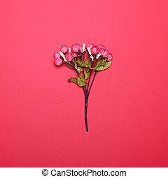 概念, -, に対して, 明るい赤, 背景, 花, 最小である