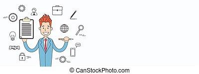 概念, の上, 契約, 印, 保有物, ビジネスマン, 文書