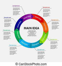 概念, の, カラフルである, 円, 旗, ∥で∥, 矢, ∥ために∥, 別, ビジネス, design., ベクトル,...