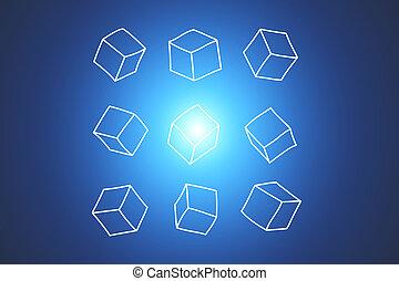 概念, の, データ, 立方体, 隔離された, 上に, background-, 技術, 概念