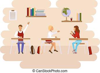 概念, の, 学校の クラス, 部屋