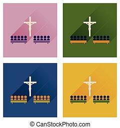 概念, の, 平ら, アイコン, ∥で∥, 長い間, 影, 人々が中にいる, 教会