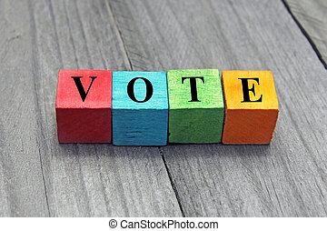 概念, の, 投票, 単語, 上に, カラフルである, 木製である, 立方体