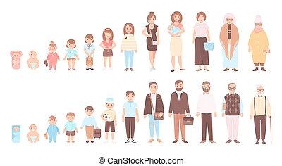 概念, の, 生活, 周期, の, 人, そして, woman., 視覚化, の, 段階, の, 人間の組織体, 成長, 開発, そして, 老化, -, 赤ん坊, 子供, ティーネージャー, 成人, 古い, person., 平ら, 漫画, characters., ベクトル, illustration.