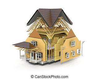 概念, の, construction., 私達, 見なさい、, 成分, の, 屋根, フレーム, そして, 断熱材,...