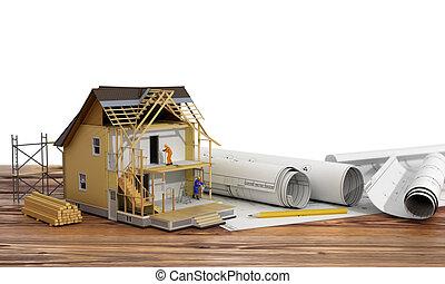 概念, の, construction., 3d, render, の, 家, 中に, 建物, プロセス, ∥で∥,...