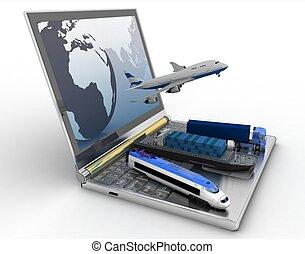 概念, の, logistics., 出産, そして, 輸送, によって, すべて, タイプ, の, 輸送