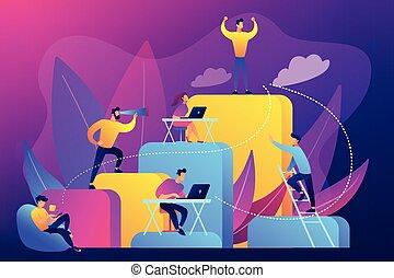 概念, はしご, ベクトル, 企業である, illustration.