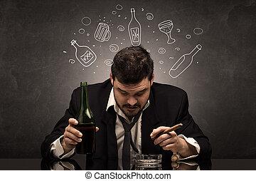 概念, びん, アルコール, 酔った, いたずら書き, 人