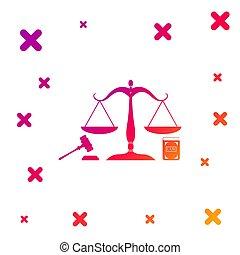 概念, アイコン, スケール, シンボル。, 動的, 任意である, バックグラウンド。, 色, 小槌, 白, イラスト, オークション, law., 本, 正義, 法律, シンボル, shapes., justice., ベクトル, 法的, 勾配, 隔離された
