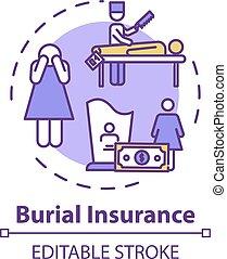 概念, アイコン, 埋葬, 保険