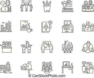 概念, アウトライン, オフィス, セット, アイコン, イラスト, ベクトル, 家, 線, サイン