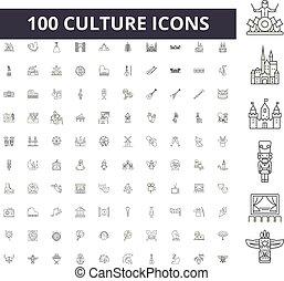 概念, アウトライン, セット, アイコン, イラスト, 文化, ベクトル, 線, サイン