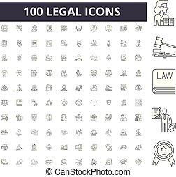 概念, アウトライン, セット, アイコン, 法的, ベクトル, イラスト, 線, サイン