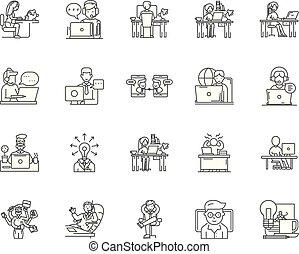 概念, アウトライン, セット, フリー, アイコン, イラスト, ベクトル, 線, サイン