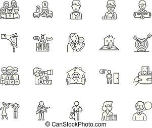 概念, アウトライン, セット, 代理店, アイコン, コレクション, ベクトル, イラスト, 線, サイン