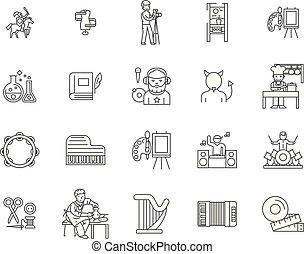 概念, アウトライン, 人々, セット, アイコン, イラスト, 創造的, ベクトル, 線, サイン