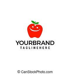 概念, アップル, ベクトル, デザイン, テンプレート, 微笑, ロゴ