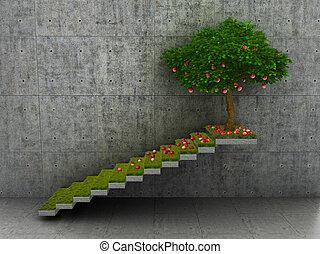 概念, アップル, 階段, 利益, イラスト, リードする, コンクリート, 木。, growth., 3d