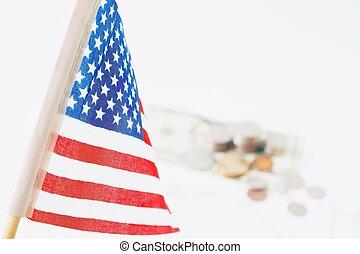 概念, アメリカ, 旅行, コイン, 山, 焦点を合わせなさい。, 背景, dollors, 精選する, アメリカ, 旗