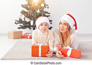 概念, イブ, 肖像画, 親, ホリデー, 母クリスマス, -, 家, 単一, 祝う