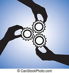 概念, イラスト, の, チームワーク, そして, 人々, 協力, ∥ために∥, チーム, success., ∥, グラフィック, 含む, 手, シルエット, 保有物, はめば歯車, 一緒に, 指摘, 共同, そして, 参加する, 手, ∥ために∥, 成功