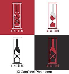 概念, イラスト, ベクトル, びん, sandglass, ワイン