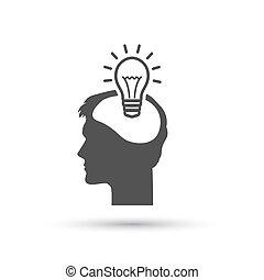 概念, イラスト, ベクトル, 電球, icon., ピクトグラフ