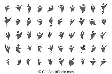 概念, イラスト, ベクトル, 黒い背景, ロゴ, icon., 白, 人