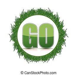 概念, イラスト, 緑, 行きなさい, デザイン, 草