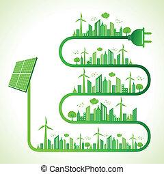 概念, エコロジー, 太陽 パネル