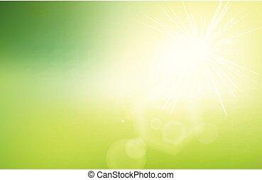 概念, エコロジー, 自然, 勾配, 春, 抽象的, flare., 日光, ぼんやりさせられた, グラフィック, 緑の背景, summer., あなたの, design.